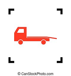 Service of evacuation sign. Wrecking car side. Car...