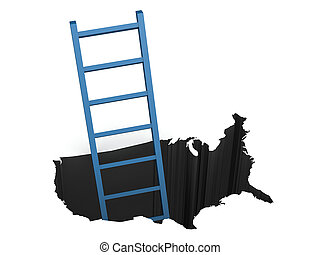 Blue ladder out of USA map