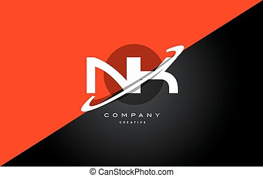 nk n k red black technology alphabet company letter logo...