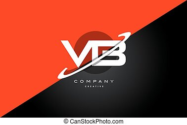 vb v b red black technology alphabet company letter logo...