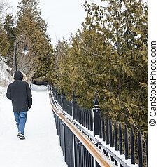 Man walking on a snowy path