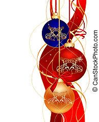 christmas design - three color christmas ball on white...