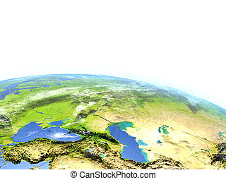 Western Asia on planet Earth - Western Asia. 3D illustration...