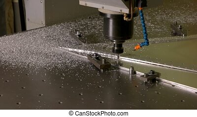 Milling machine in action. Drill and metal. Precision of cnc...