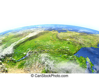 Siberia on planet Earth - Siberia. 3D illustration with...
