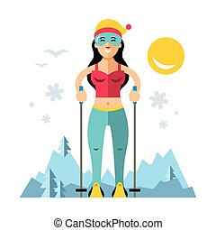 Vector Girl on skis. Flat style colorful Cartoon...