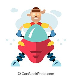 Vector Man on snowmobile. Flat style colorful Cartoon...