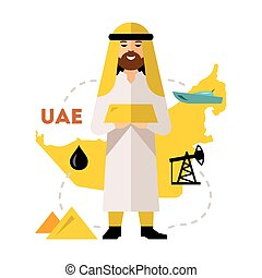 Vector Arab Oil Industry. Flat style colorful Cartoon...