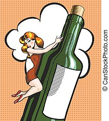 Vector pop art illustration of young woman on a bottle