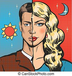 Vector pop art illustration of male wearing feminine...