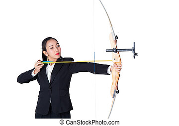Portrait of concentrated female with crossbow in hands over...