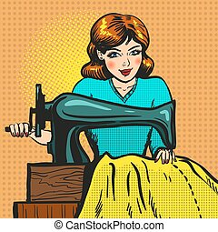 Vector retro pop art illustration of seamstress sewing on...