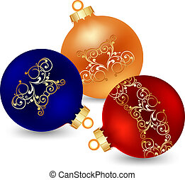 three decorated christmas ball