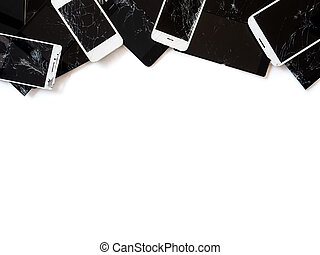 Group of broken smartphone screen (e-waste) isolate - Top...