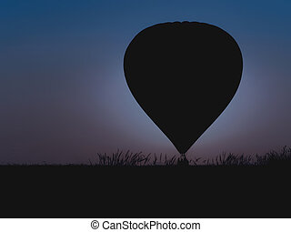 Hot air balloon with beautiful twilight background