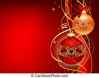 red and gold christmas ball with ribbons and strars