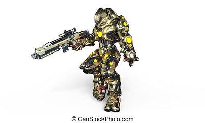 Walking battle robot - 3D CG rendering of a walking battle...
