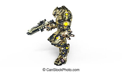 Walking battle robot - 3D CG rendering of a walking battle...