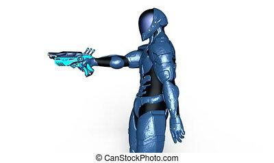 Walking cyborg - 3D CG rendering of a walking cyborg.