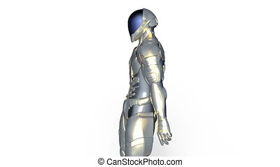 Walking cyborg - 3D CG rendering of a walking cyborg.