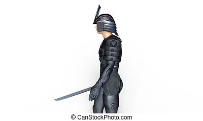 Walking samurai warrior - 3D CG rendering of a walking...