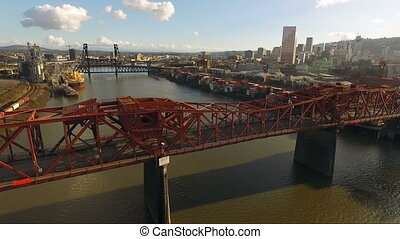 Broadway Draw Bridge Willamette River Portland Oregon Downtown City Skyline