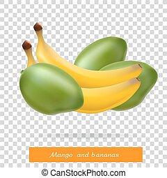 Mango and banana. Fruit. Vegetarianism. Vector illustration