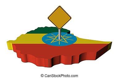 warning sign on Ethiopia map flag