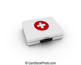 White first aid kit isolated on white background High...