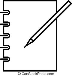 icon notebook and pen black contour of vector illustration