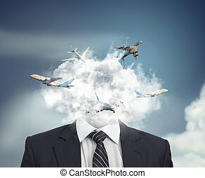 Flying routes in a cloud. - Business man with a clound in...