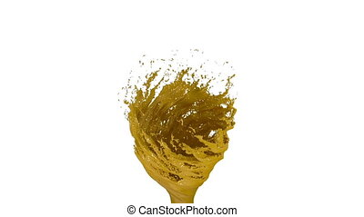 Yellow Liquid tornado on white background. Beautiful colored...