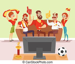 Vector cartoon illustration of a group of friends watching a...