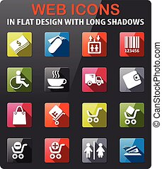 Shopping icon set - Shopping icons set in flat design with...