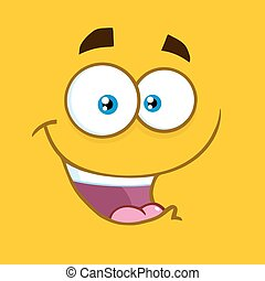 Happy Cartoon Square Emoticons With Smiling Expression