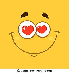 Smiling Love Cartoon Square Emoticons With Hearts Eyes And Expression