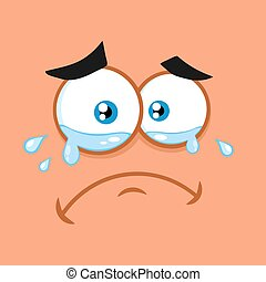 Crying Cartoon Funny Face With Tears Expression