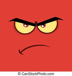 Angry Cartoon Funny Face With Grumpy Expression