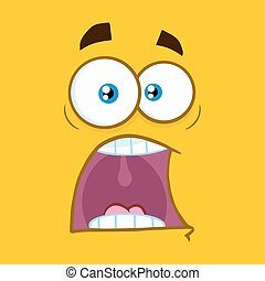 Scared Cartoon Square Emoticons With Panic Expression