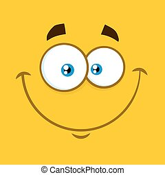 Smiling Cartoon Square Emoticons With Happy Expression