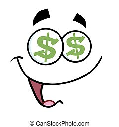 Cartoon Funny Face With Dollar Eyes And Smiling Expression