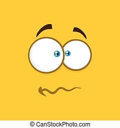 Nervous Cartoon Square Emoticons With Panic Expression