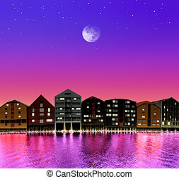 fairytale town - silhouette of fairytale town on night sky...