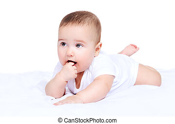 cute little baby - Cute little baby lying on the blanket and...