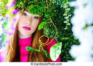 forest nymph - Spring girl portrait. Tender young woman in a...