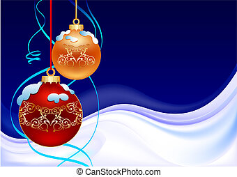 winter christmas ball - winter background with two christmas...