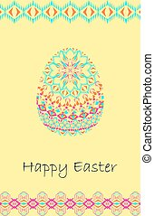 Vector Happy Easter background with easter egg and tribal geometric borders. Ethnic theme