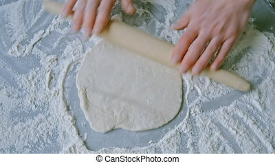knead and roll dough for pizza.