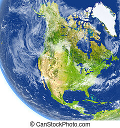 North America on planet Earth - North America. 3D...