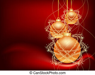 three christmas balls - three hanging christmas balls on red